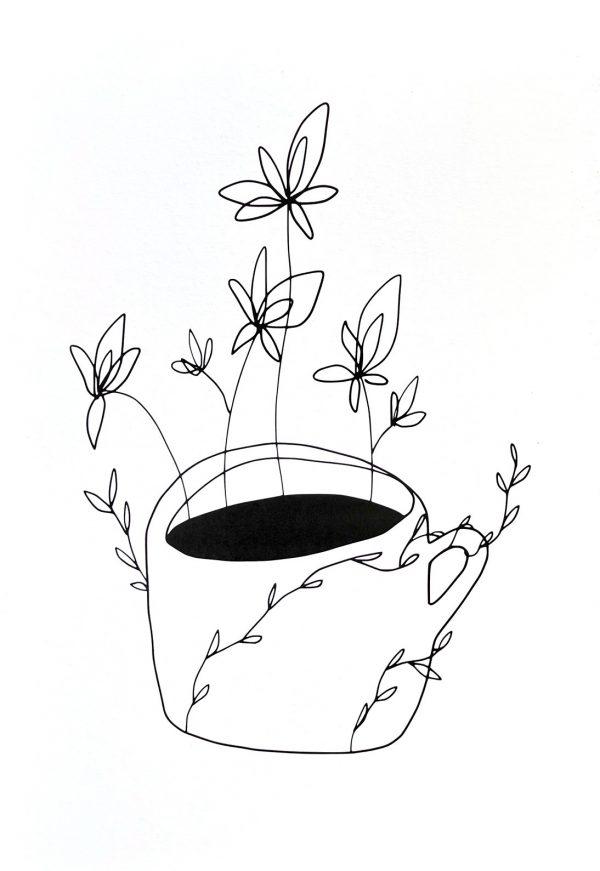 černobílá digitální kresba hrnek kávy s květinami