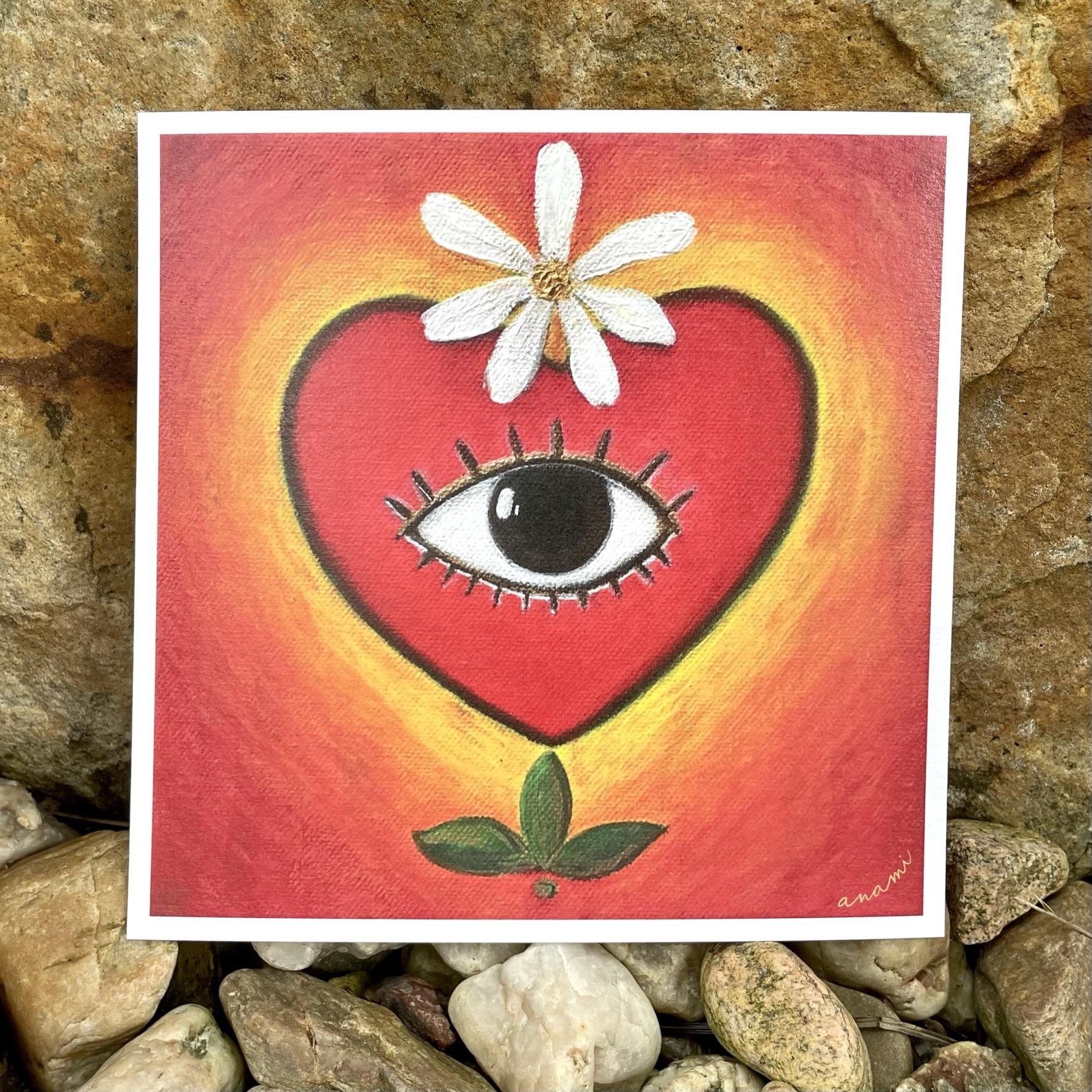 Obrázek srdce oko květina v červených barvách