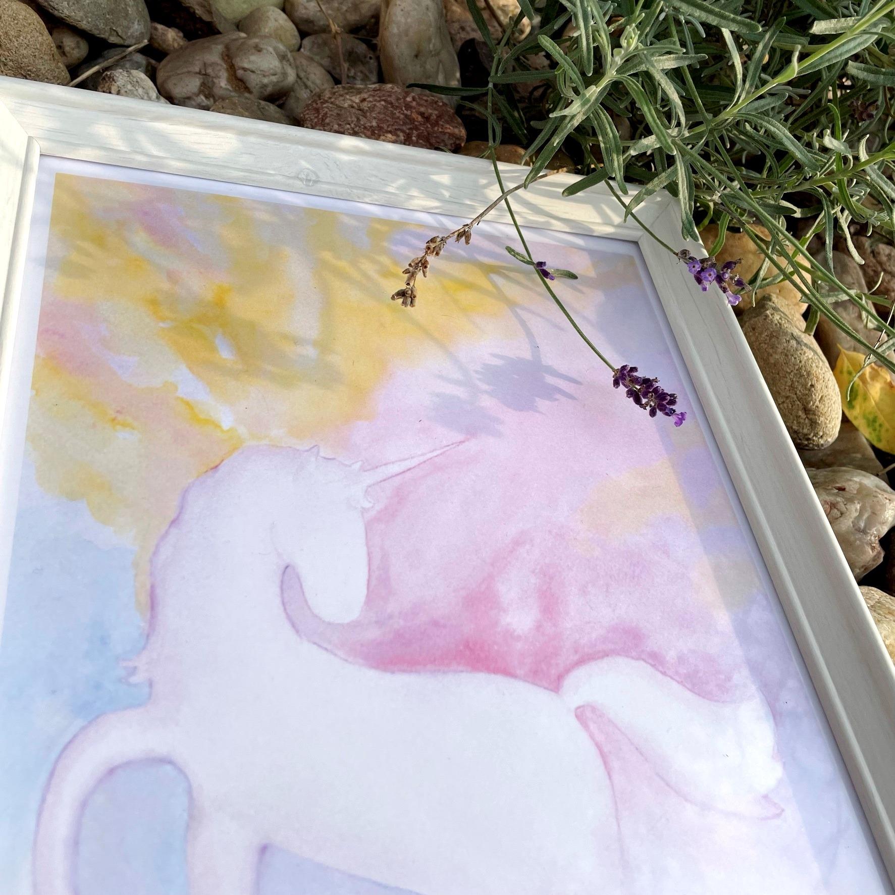 autorský obraz kouzla bílého jednorožce