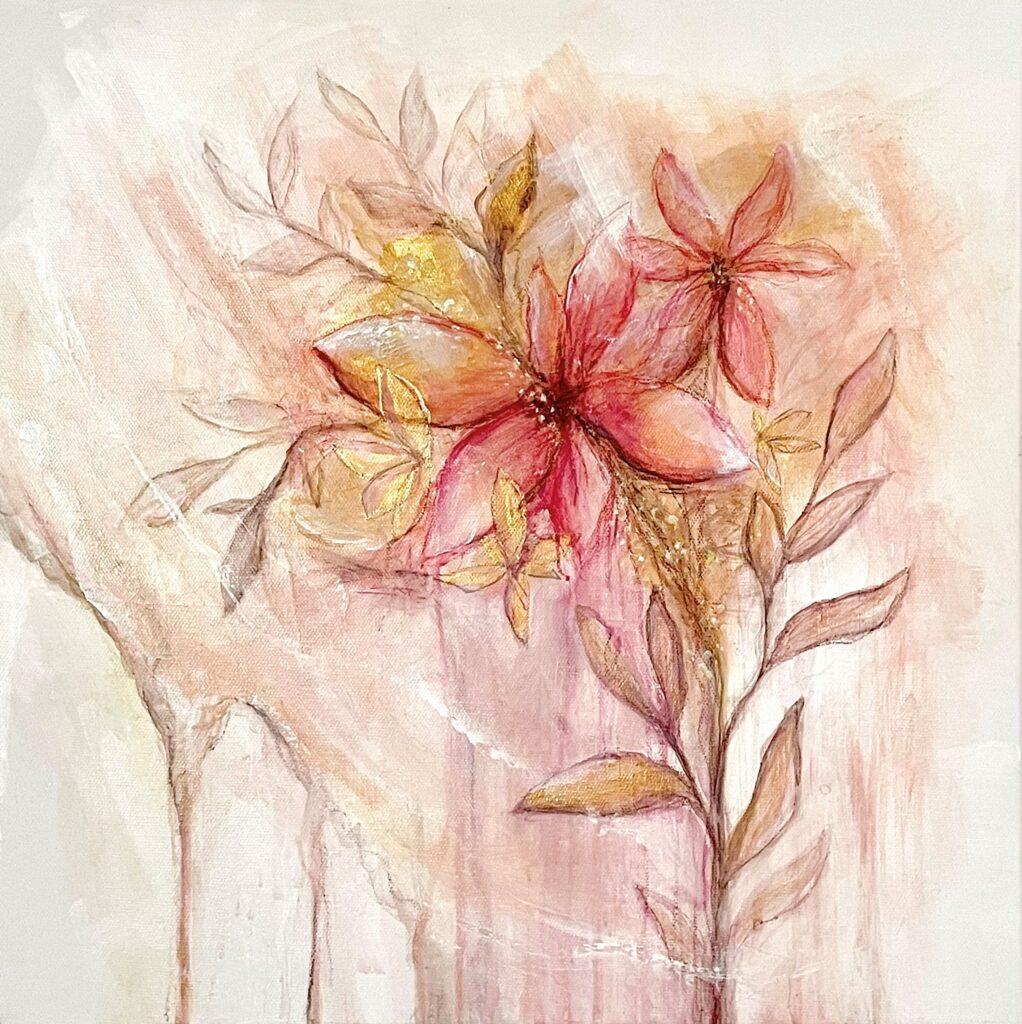 Malba kombinovanou technikou - růžovo-zlatá semi-abstraktní květina